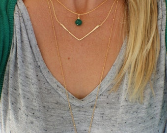 Gold Chevron Necklace, Gold filled Hammered Layering Chevron Necklace, Minimalist Layering Necklace