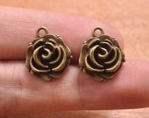 50pcs Antique bronze Rose pendant Charms,Metal Flower Pendant Bracelet Earrings Zipper Pulls Keychains pendant--17x15mm