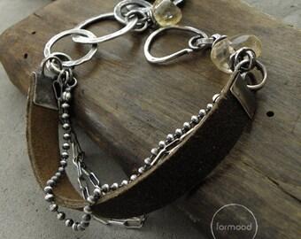 Citrine and leather  bracelet