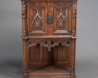 Gothic Revival Oak Knight's Cabinet