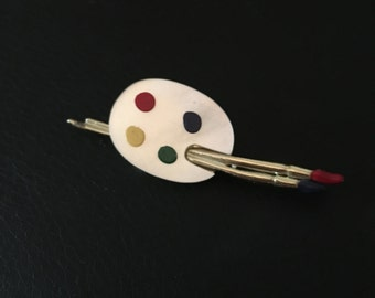 Artist Palette & Brushes Pin