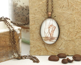 necklace ...tipToe... hand drawn, Cabochon, copper