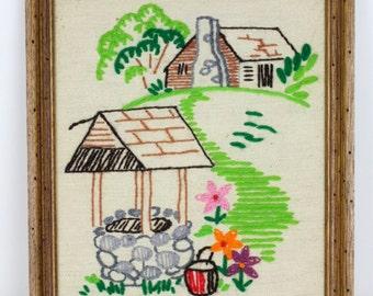 Vintage Western Crewel Art/ Well, Cottage, and Flower Crewel Art/ Vintage Floral Embroidery