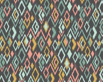 Ikat Diamonds Retro Modern Print Sophia Cotton Fabric by Makower per fat quarter per metre FQ