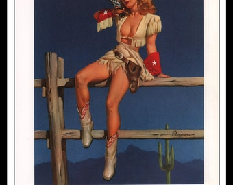 """Gil Elvgren Vintage Pinup Illustration """"Aiming To Please 1948"""" Sexy Pinup Mature Wall Art Deco Book Print 9 3/4"""" x 14"""""""