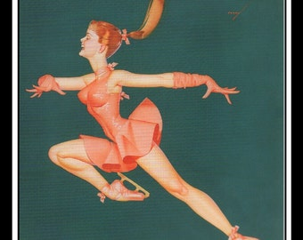 """George Petty Vintage Pinup Illustration Sexy Pinup Ice-Capades Wall Art Deco Book Print Small 5.5"""" x 6"""""""