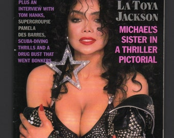 Mature Vintage Playboy Mens Girlie Pinup Magazine : March 1989 La Toya Jackson VG White Pages Intact Centerfold