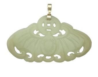 Carved Chinese Jade Pendant with 14K Bale