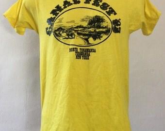 Vtg 1983 Canal Fest 83 T-Shirt Yellow S/M 80s Screen Stars 50/50 Tonawanda Buffalo New York