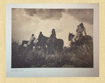 Native American Print Apache Indian War Rain Storm Edward Curtis Sepia Brown Indian Warrior Vintage Indian Photo Goddess Witch Tribal Gift