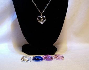 Necklace, Bridesmaid Necklace, Wedding Jewelry, Crystal Heart, Rhinestone Necklace
