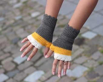 Wool wristwarmers in gray yellow and off white, crocheted fingerless gloves, office gloves, striped wrist warmers