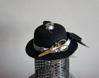 One Of A Kind Steampunk Tinker, Tailor Elegant Black Mini Bowler Hat With Tape Measure, Scissors, Bobbin And Button Details