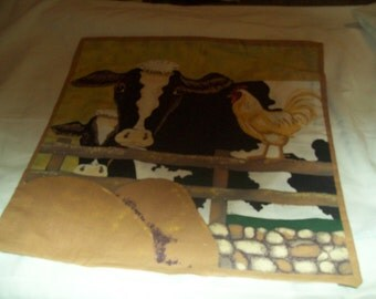 handmade  throw pillow, cows at fence