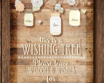 Gender Neutral Wishing Tree Sign and Tags - Digital Download