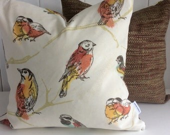 Orange Autumn birds indoor/outdoor cushion cover