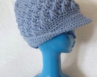 Hat with flaps, crochet, grey blue. Ladies size small/teen size.