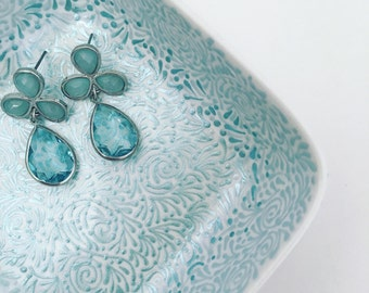 Hand Painted Jewelry Dish (Pearlized Sky/Ice Blue Ombre)
