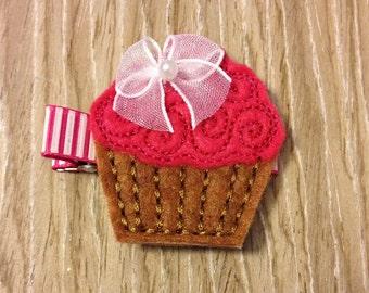 Cupcake hair clip - cupcake clip - pink cupcake hair clip - felt cupcake hair clip - cupcake bow - cupcake barrette - birthday hair clip