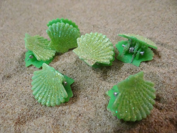 6 pc Green Glitter Shell Seashell Clam Clamshell Hairclip Hair Clip Accessory Claw Mermaid Ariel Accessories Butterfly Clips