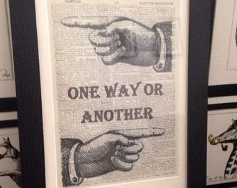Vintage One Way Or Another Quote Print Dictionary Page Wall Art Picture Framed Quirky Funky Cool Blondie