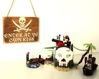 Pirate Hanging Sign - Kids Pirate Room Decor - Bedroom Door Sign - Pirate Sign - Skull and Crossbones  - Hanging Sign
