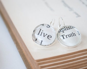 Live Truth Earrings - Words to Live By - Christian Earrings - Religious Jewelry - Upcycled Jewelry - Live Jewelry
