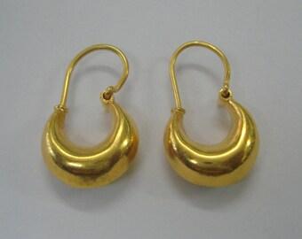 22kt gold hoop earrings earring pair vintage tribal jewellery handmade