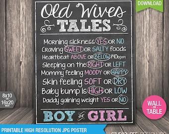 Old Wives' Tales Gender Prediction Poster - INSTANT DOWNLOAD - Printable - Gender Reveal Party - Chalkboard - DIY Print (BGsi01)