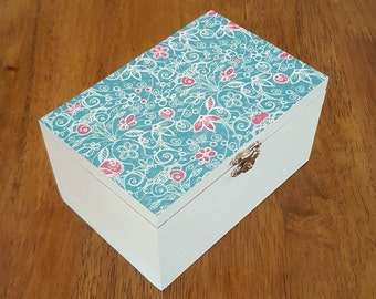 Turquoise jewellery box, wood jewellery box, decoupage box, wooden trinket box, patterned keepsake box, painted wooden box jewellery storage