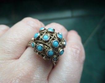 Topazio portugal blue turqouise sterling silver filigree poison ring