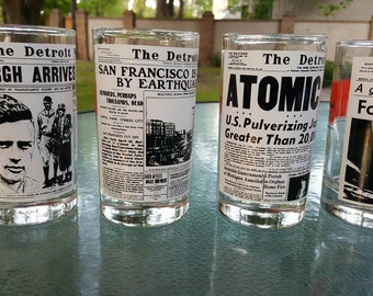 The Detroit News Centennial glasses from 1973, Detroit Michigan memorabilia, The Detroit News collectible, Centennial commemorative glasses