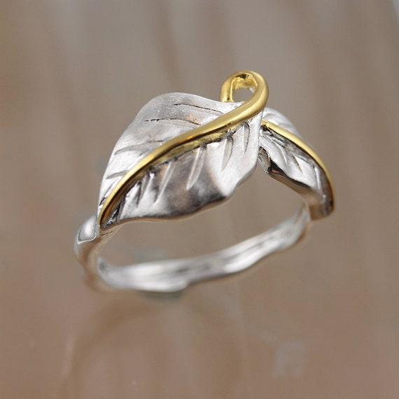 sterling silver and gold plated leaf ring feminine jewellery