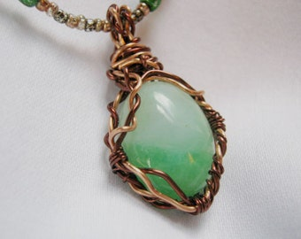 Neck O' The Woods wrapped green necklace