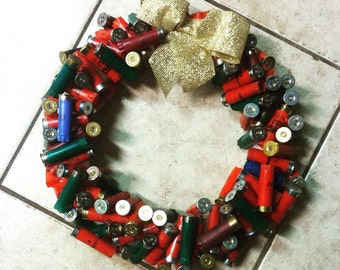 Shotgun shell wreath with bow