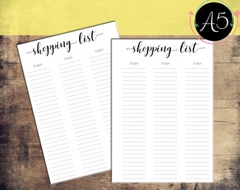 A5 Printable Shopping List Planner Pages For Filofax Organiser Instant Download PDF
