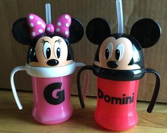 Disney Mickey Minnie Personalized Kids Water Bottle with Straw