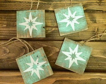 Christmas ornaments, Christmas star wood ornament, Shining star ornament, Rustic decor, Reclaimed wood ornament