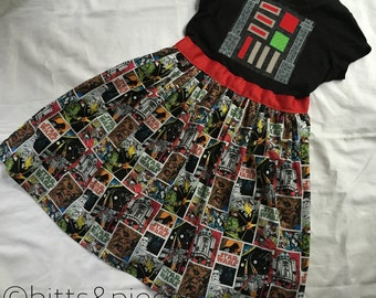 Darth Vader-inspired T-shirt Dress for Big Girls-- sizes XS, S, M, L, and XL (ages 6- 12)