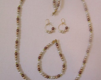 Dark neutral beaded necklace with matching bracelet & pierced earrings - # 118