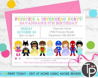 princess and superhero party invites
