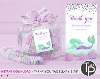 Mermaid Favor Tag, MERMAID Gift Tags, Mermaid Party, Mermaid Lolly Bag Tags, Mermaid Printable, Edit yourself with Adobe Reader