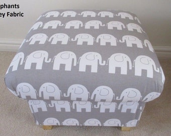 Elephants Grey Fabric Footstool Animals Pouffe Nursery Bedroom Foot Stool Bespoke