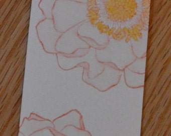 Watercolor Camellia Floral Bookmark