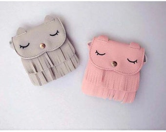 Grey Pink Cat fringe toddler handbag coin purse