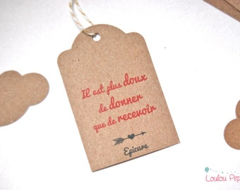 """Lot 10 labels recycled kraft - quote Epicure """"give and receive"""""""