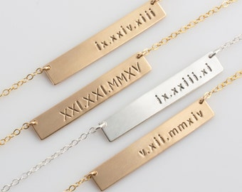 Roman Numeral Bar Necklace, Roman Numeral Jewelry in 14k Gold Fill, Sterling Silver, Stamped Necklace, LEILAjewelryshop, N223