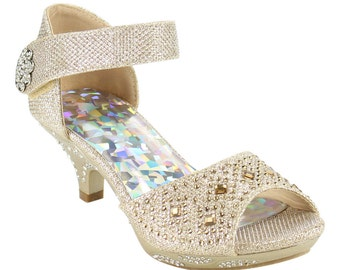Girls shoes champagne rhinestone heels. Girls Pageant shoes, dance shoes, flower girl shoes. Girls formal shoes. girls dress shoe.