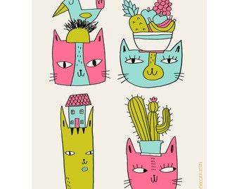 Cats in Hats-Cat Print-Cat Lover Gift-Cute Print-Home Decor-Colourful Print-Fun Print-Animal Illustration (8 X 10 in)