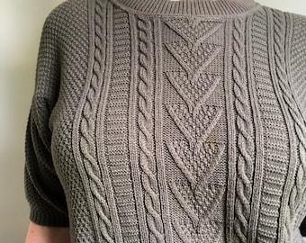 Olive Green Vintage Knit Blouse w/ Triangle Pattern by Cuddle Knit